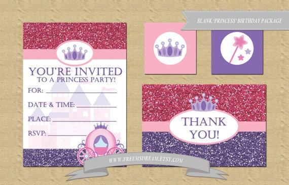 7 Images of Princess Birthday Invitation Blank Printable