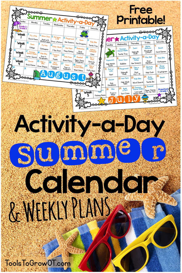 7 Images of 2015 Calendar Free Printable Summer Activity