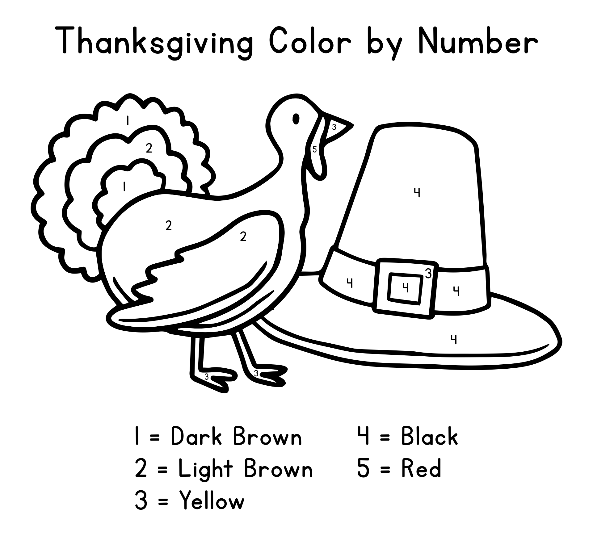 Printable Thanksgiving Color by Number Coloring Pages