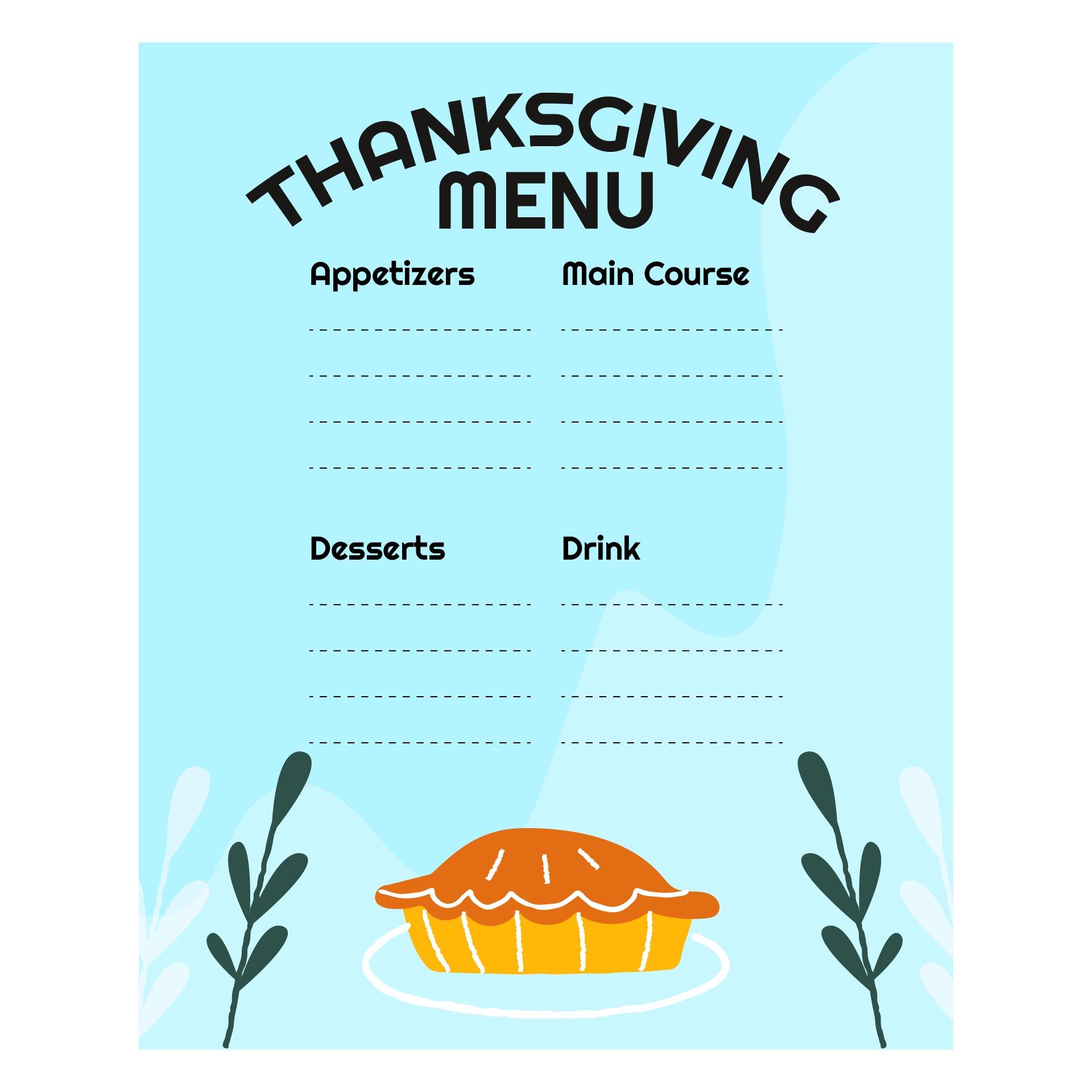 Printable Thanksgiving Menu Template