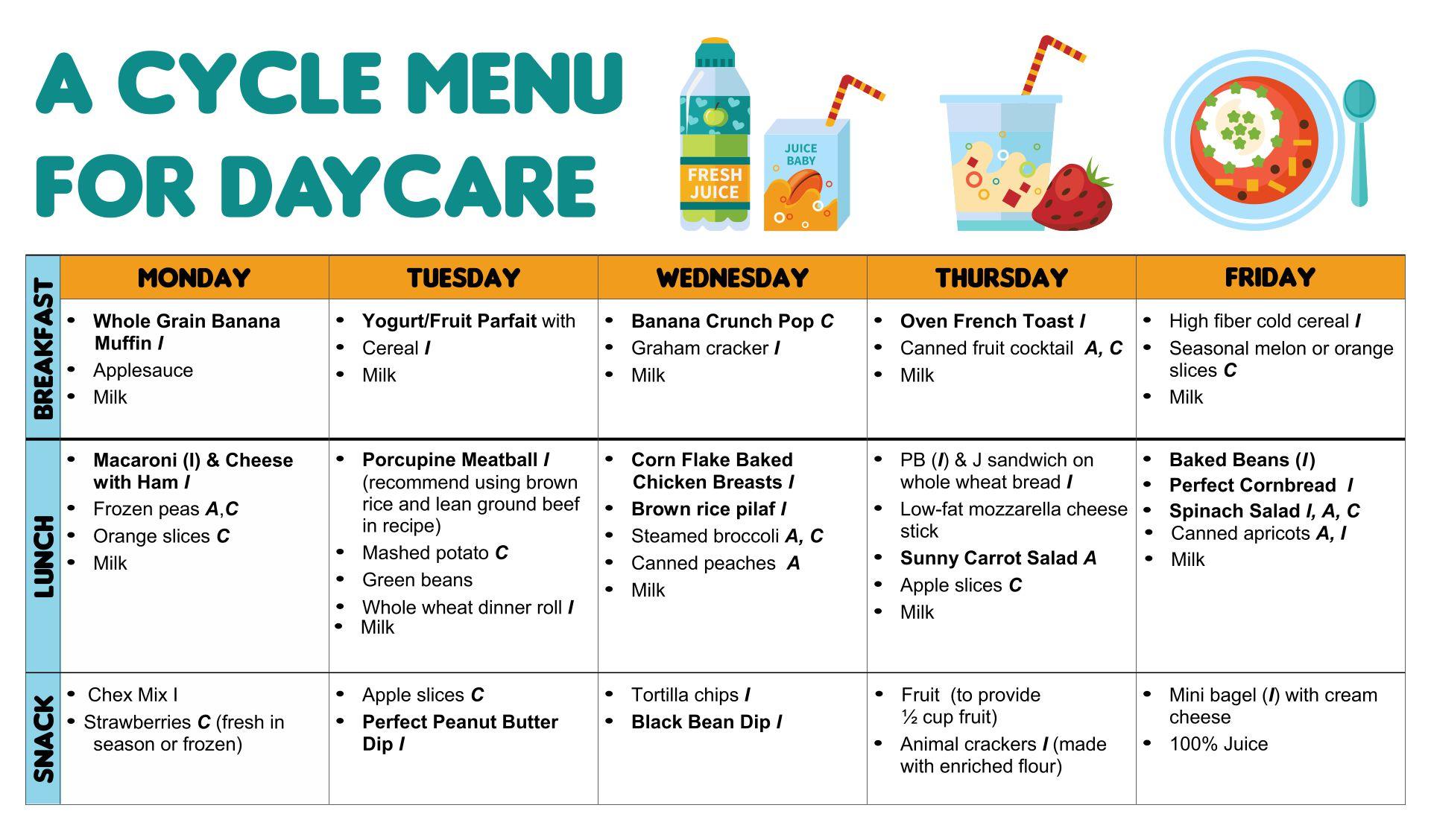 Sample Daycare Menu Templates
