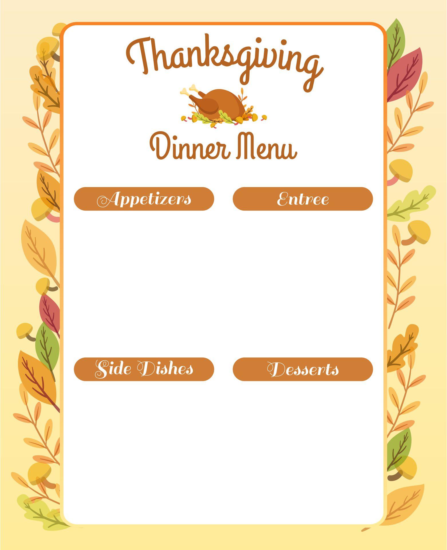 Thanksgiving Dinner Menu Template Free