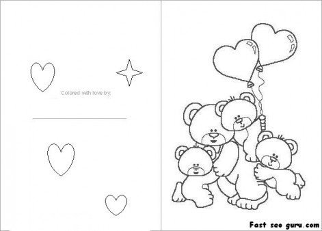5 Images of Printable Foldable Valentine Coloring Cards