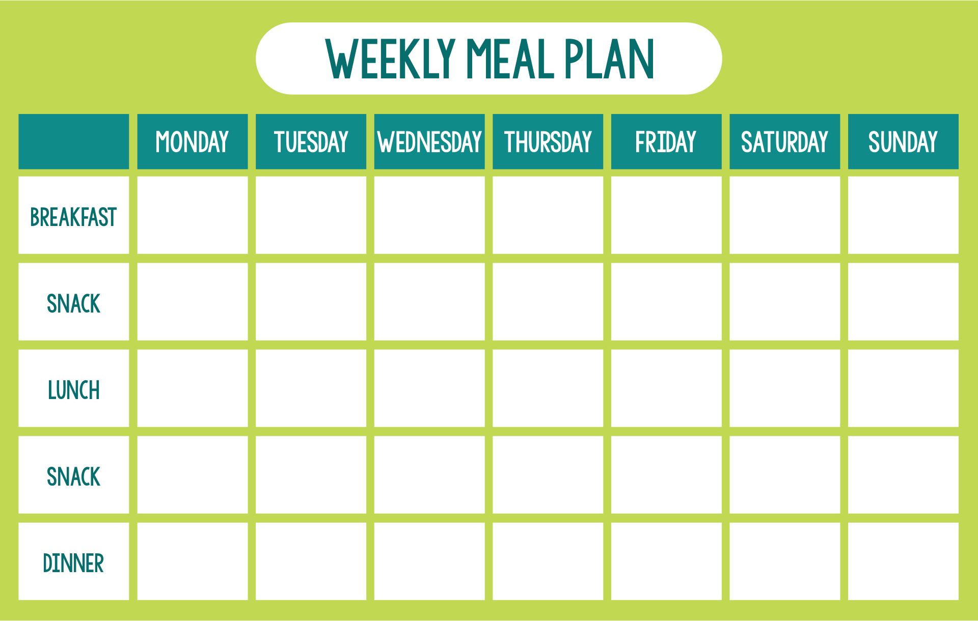 Weekly Day Care Menu Template