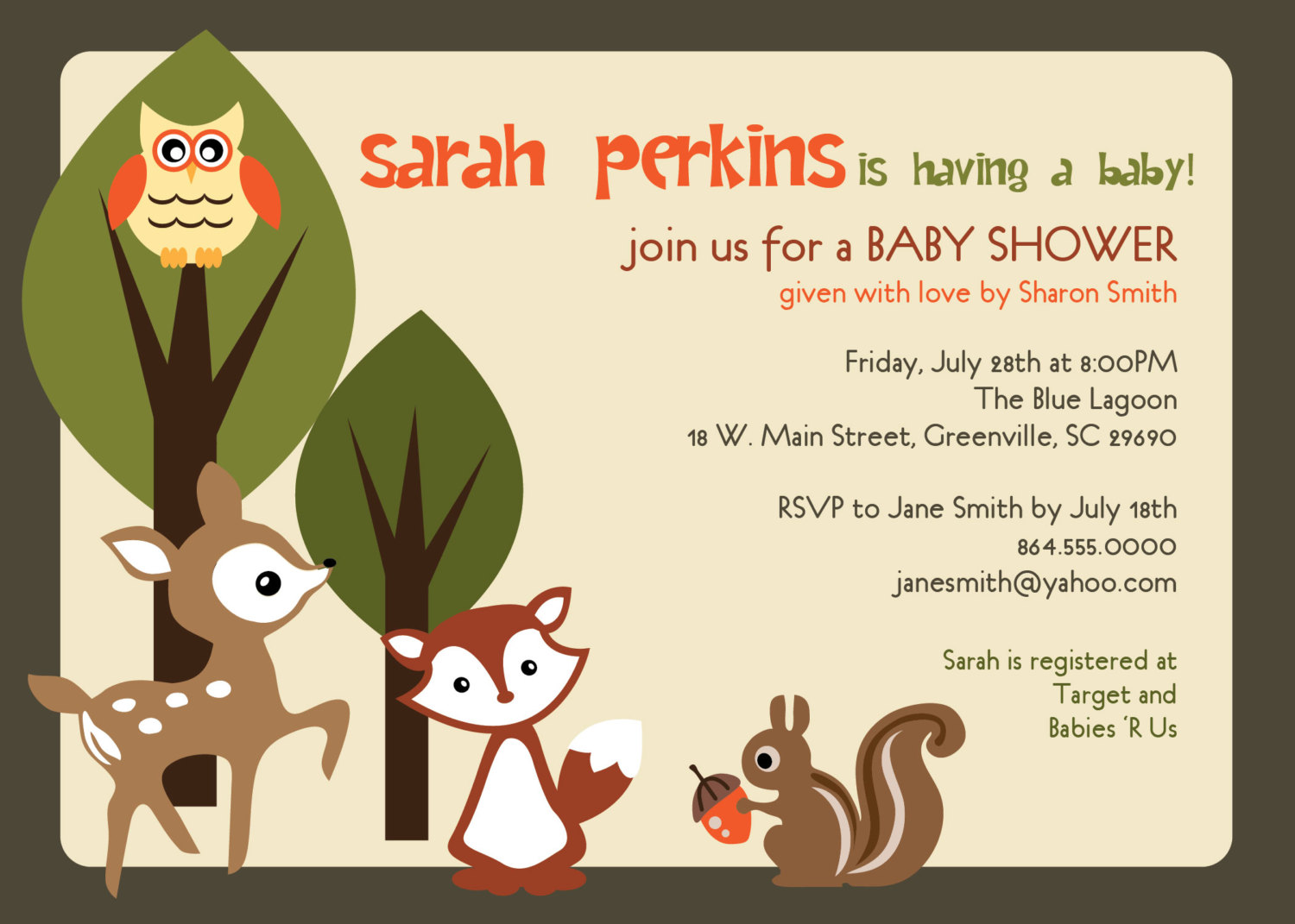 5 Images of Printable Woodland Animals Baby Shower Invitation