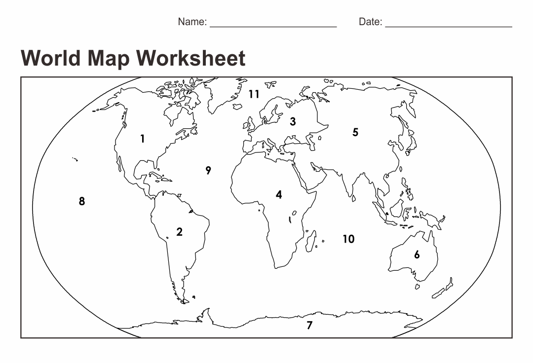 Best Images of World Map Printable Worksheet - World Map ...