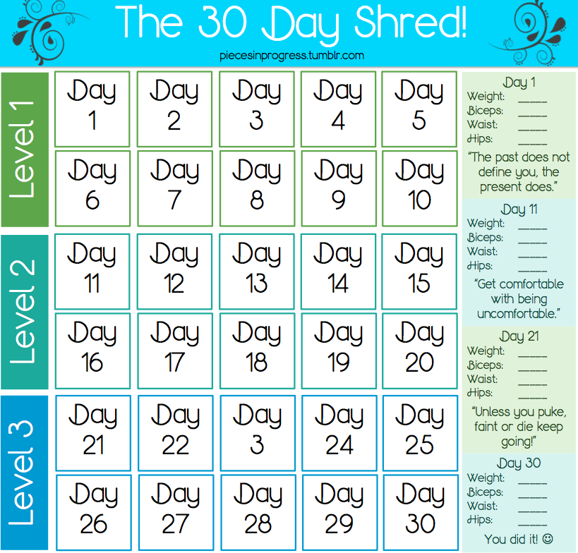 5 Images of 30-Day Shred Printable Calendar