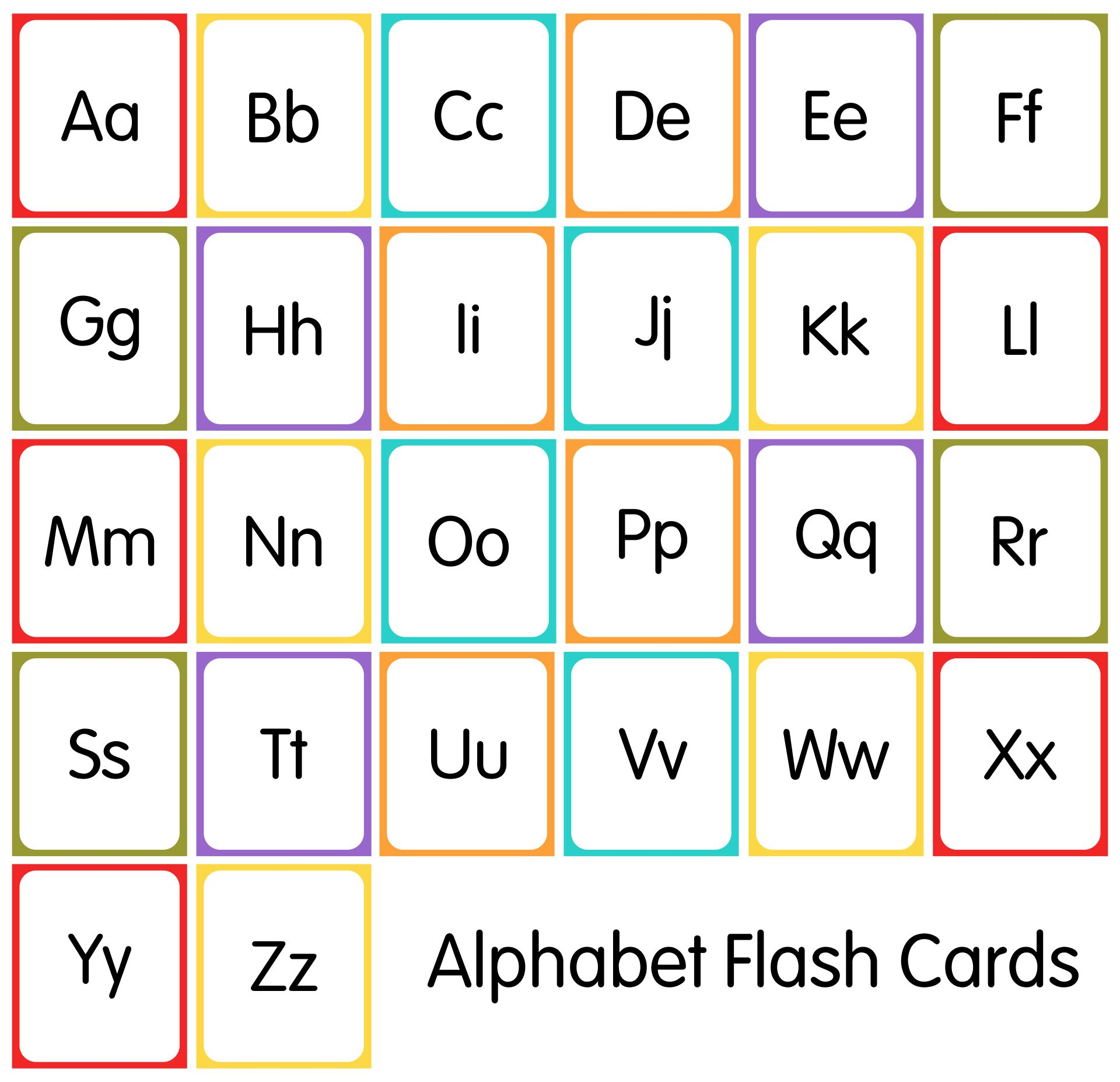 Alphabet Upper and Lower Case Letters Flash Cards