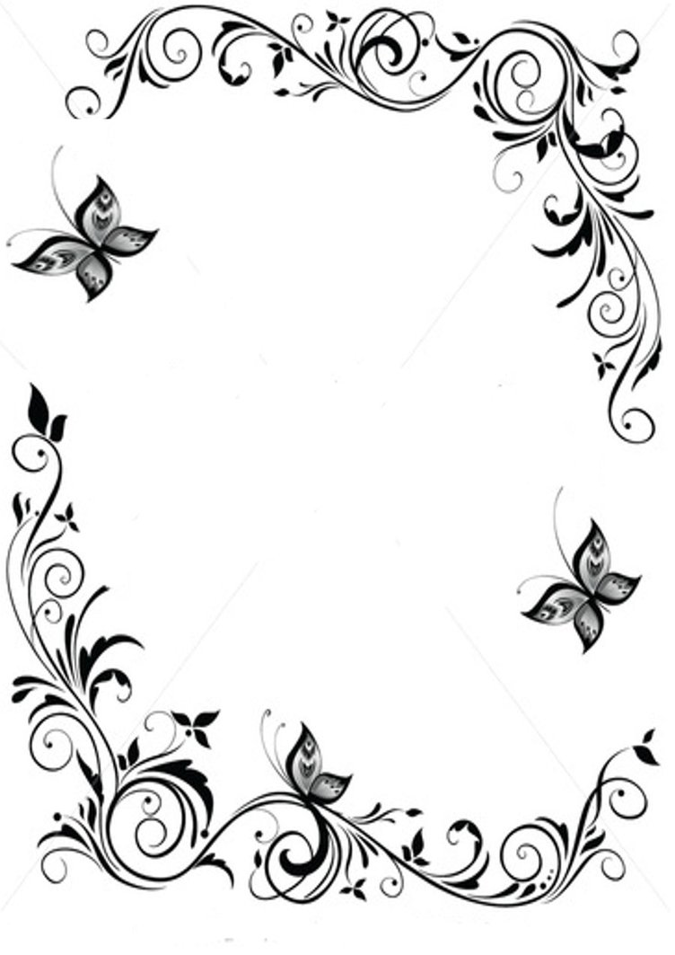 Black and White Butterfly Border