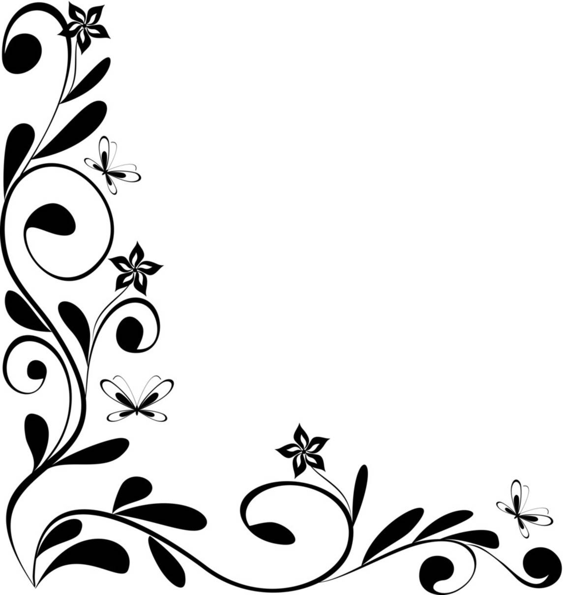 Black and White Flowers Corner Border Designs