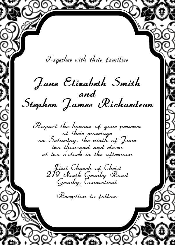 5 Images of Black And White Wedding Invitation Templates Printable