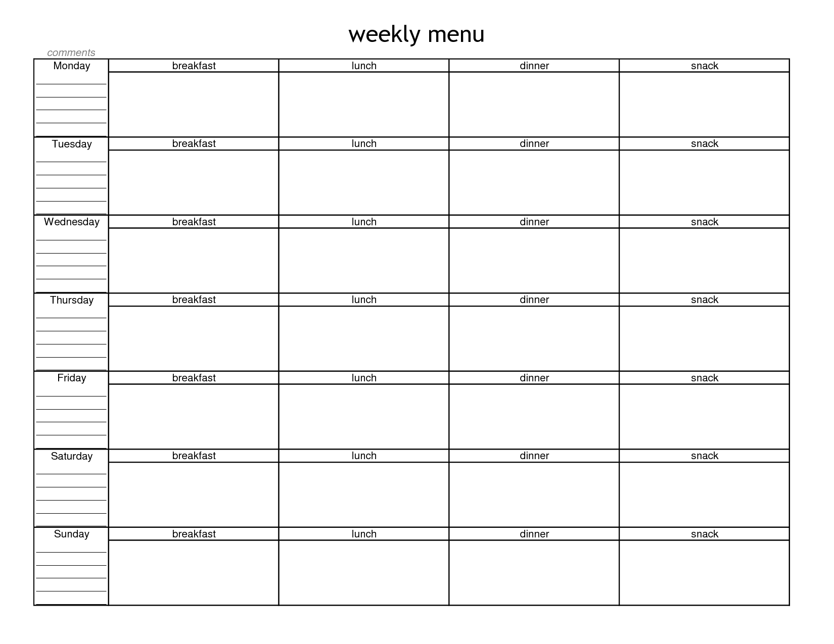 7 Images of Blank Printable Weekly Menu