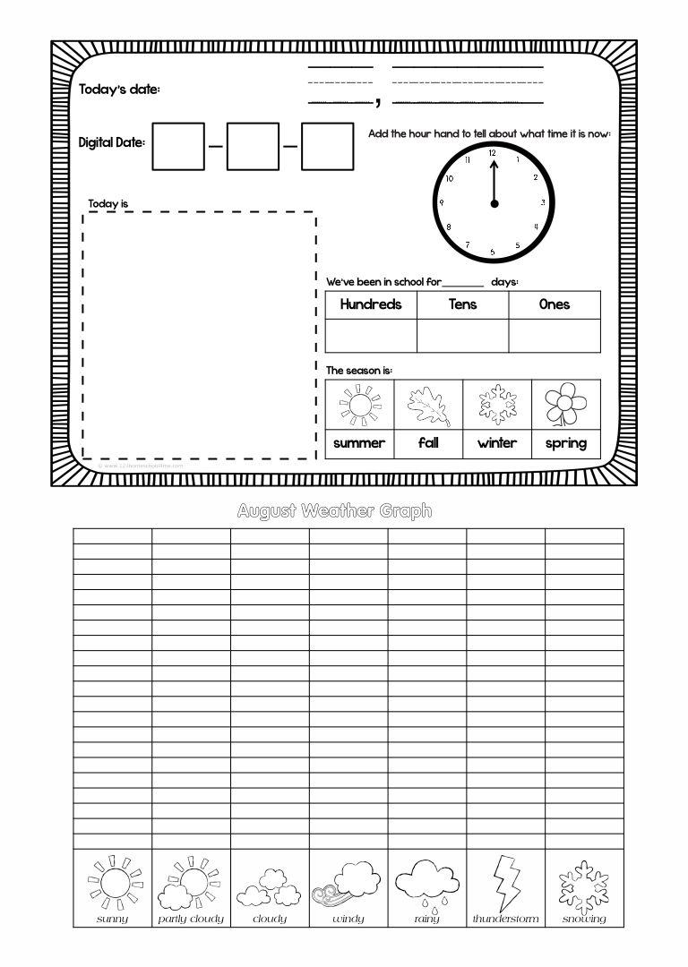 Calendar Notebook Kindergarten