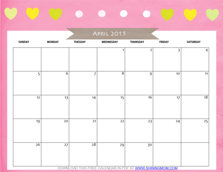 8 Images of Cute Free Printable Calendar April 2015