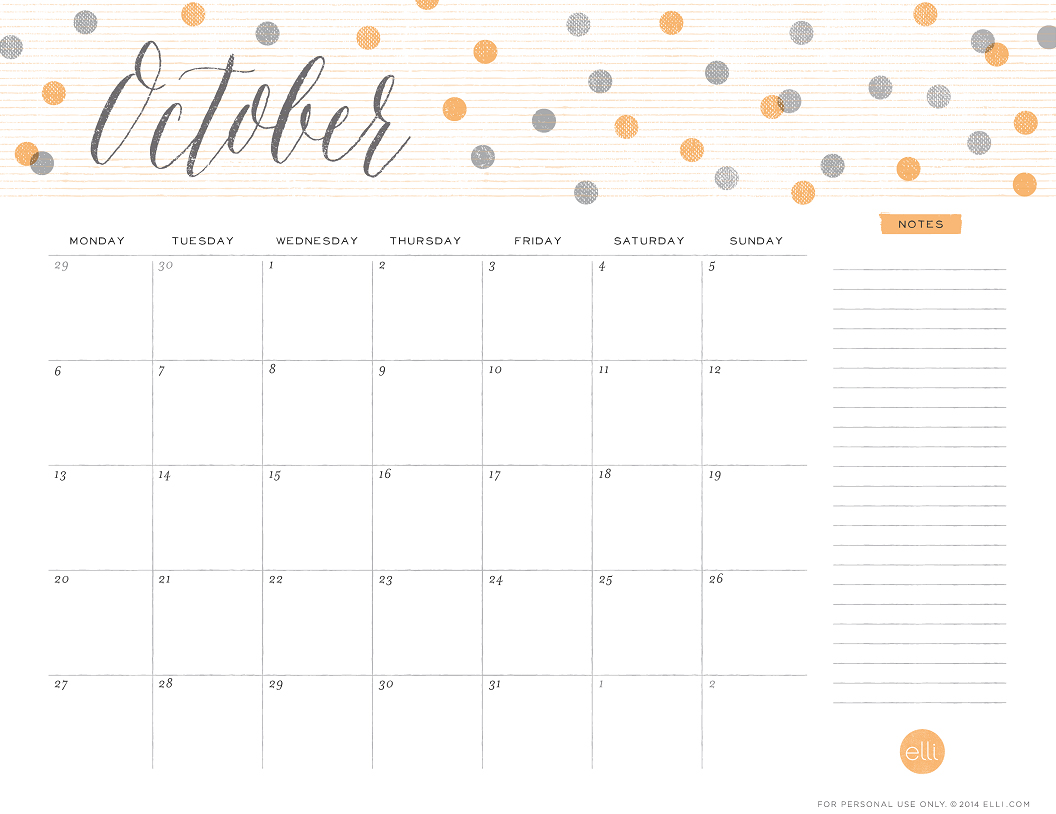 5 Images of Fall October 2014 Calendar Printable