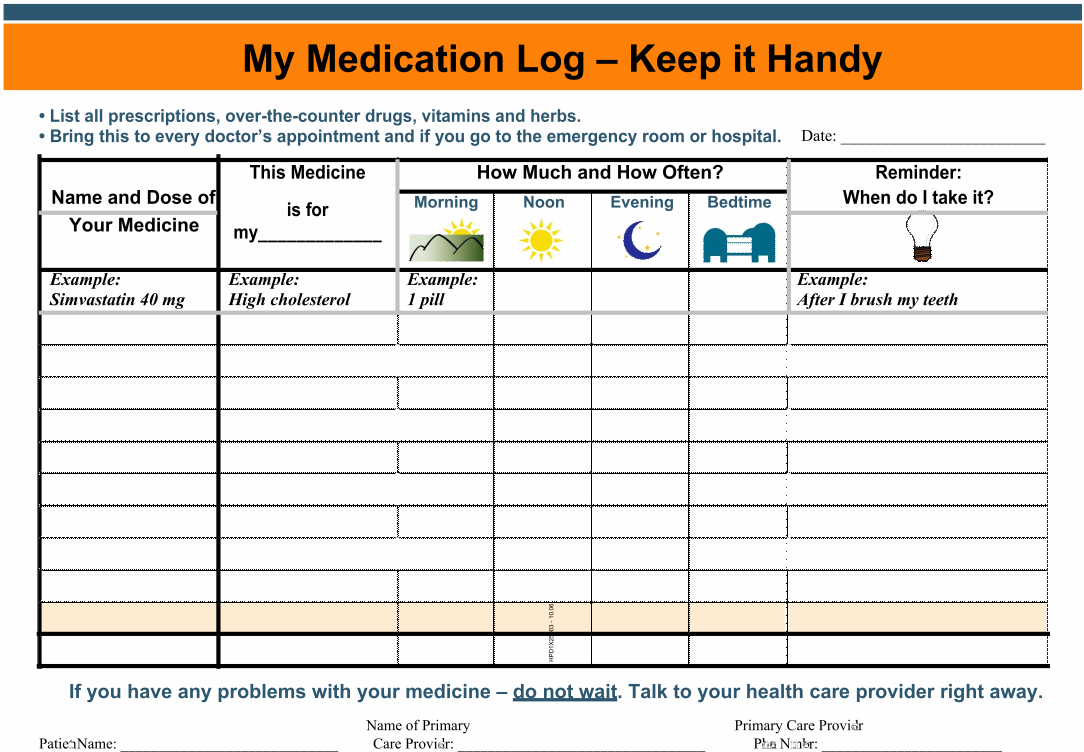 Refreshing image pertaining to daily medication chart template printable