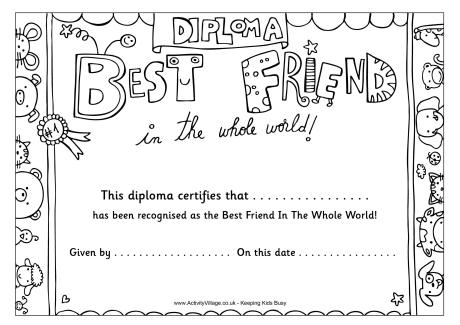 4 Images of Best Friend Award Printable