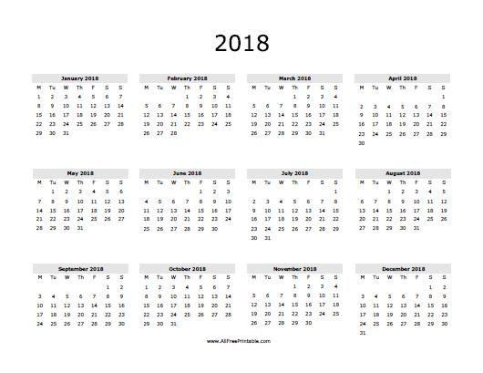7 Images of 2018 Yearly Calendar Free Printable Template