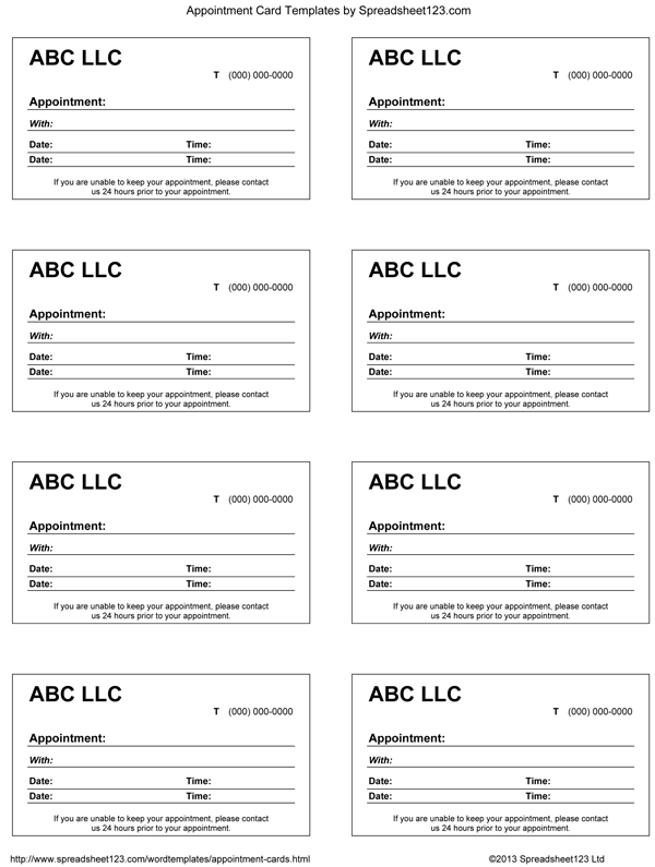 medical appointment card template free - 9 best images of blank printable appointment cards free