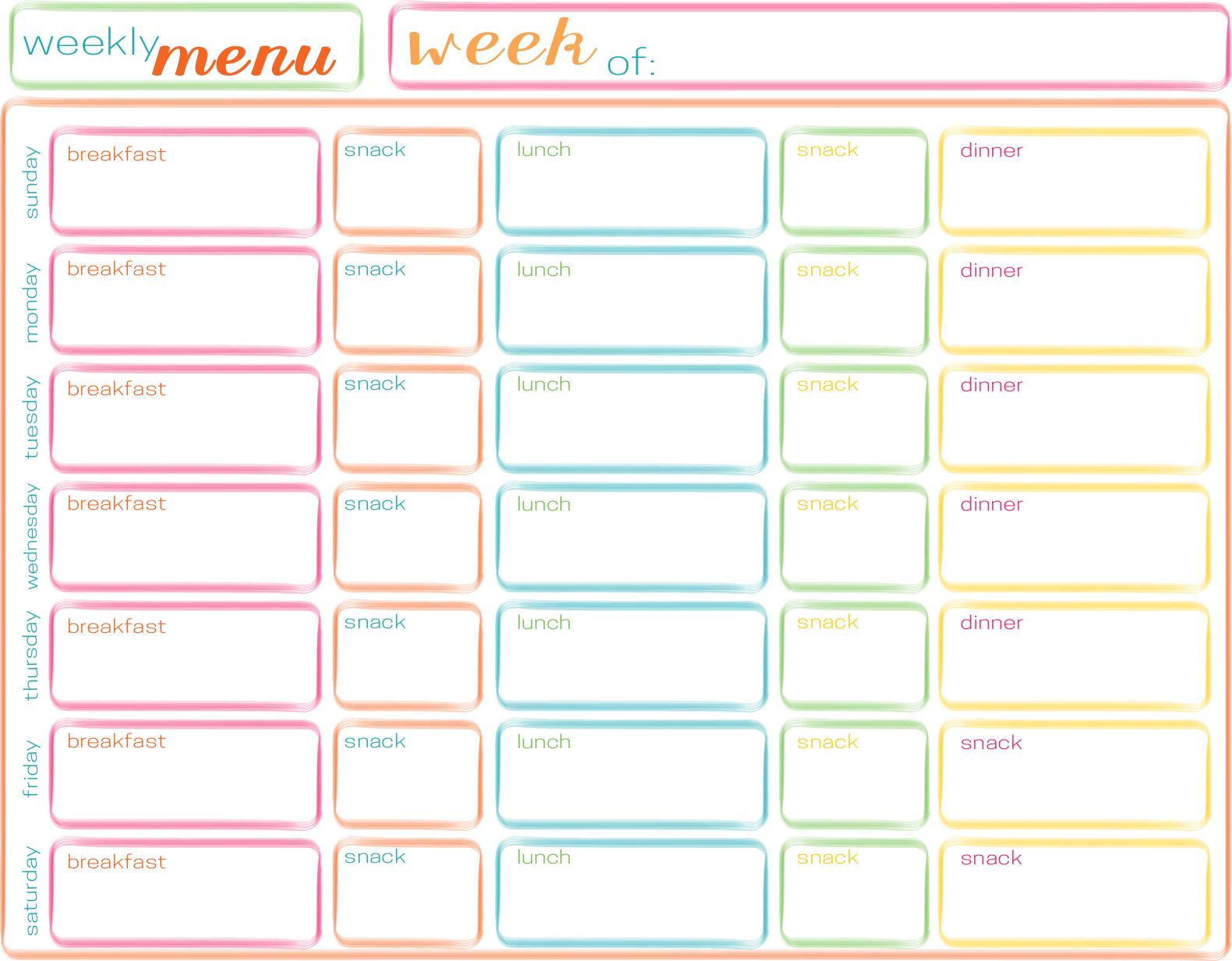 Menu - Blank Weekly Menu Planner Template, Printable Weekly Dinner ...