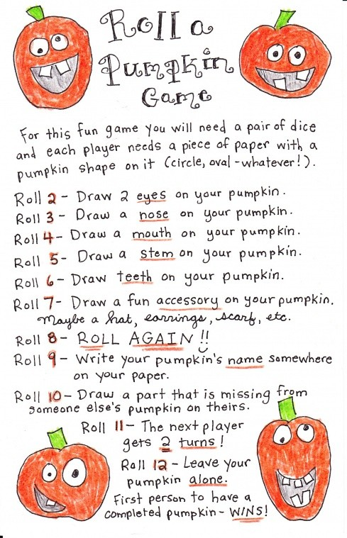 6 Images of Pumpkin Dice Game Printable
