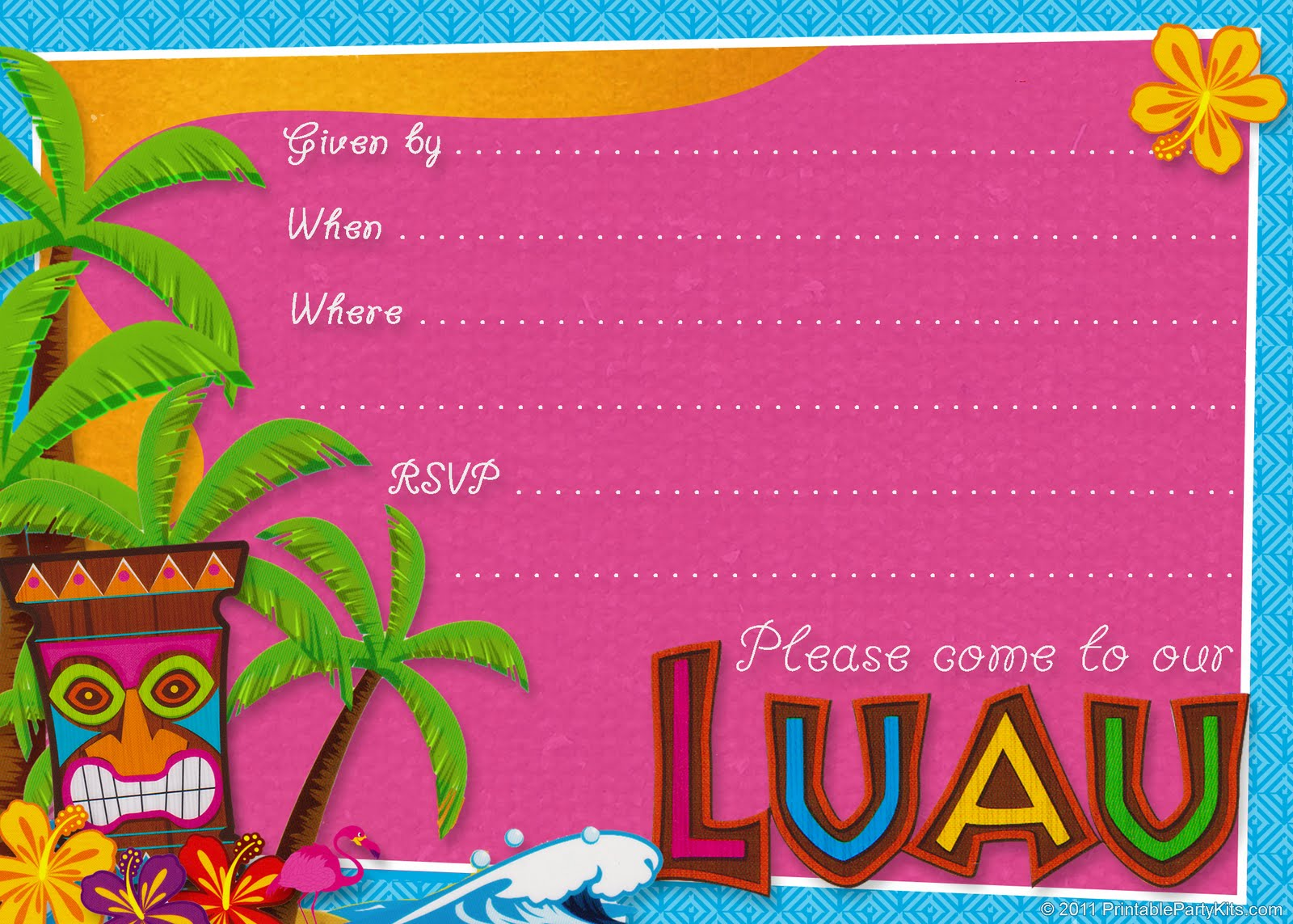 6 Images of Free Printable Luau Birthday Invitations Templates