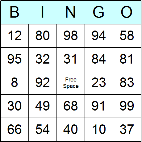 7 Images of Classic Bingo Cards Free Printable