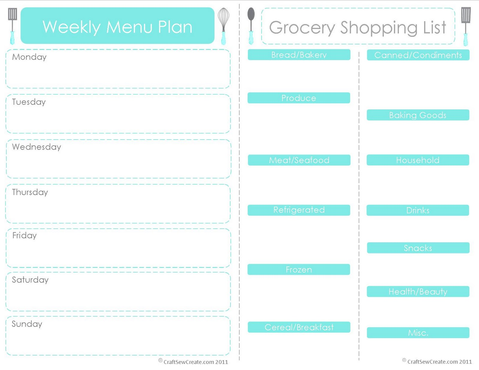 6 Images of Menu Shopping List Printable