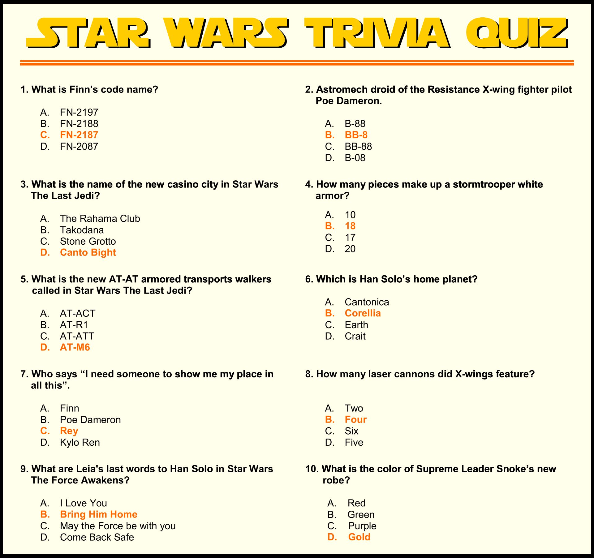 Fun Printable Trivia Games