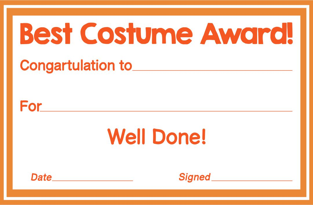 Halloween Best Costume Certificate Printable Template