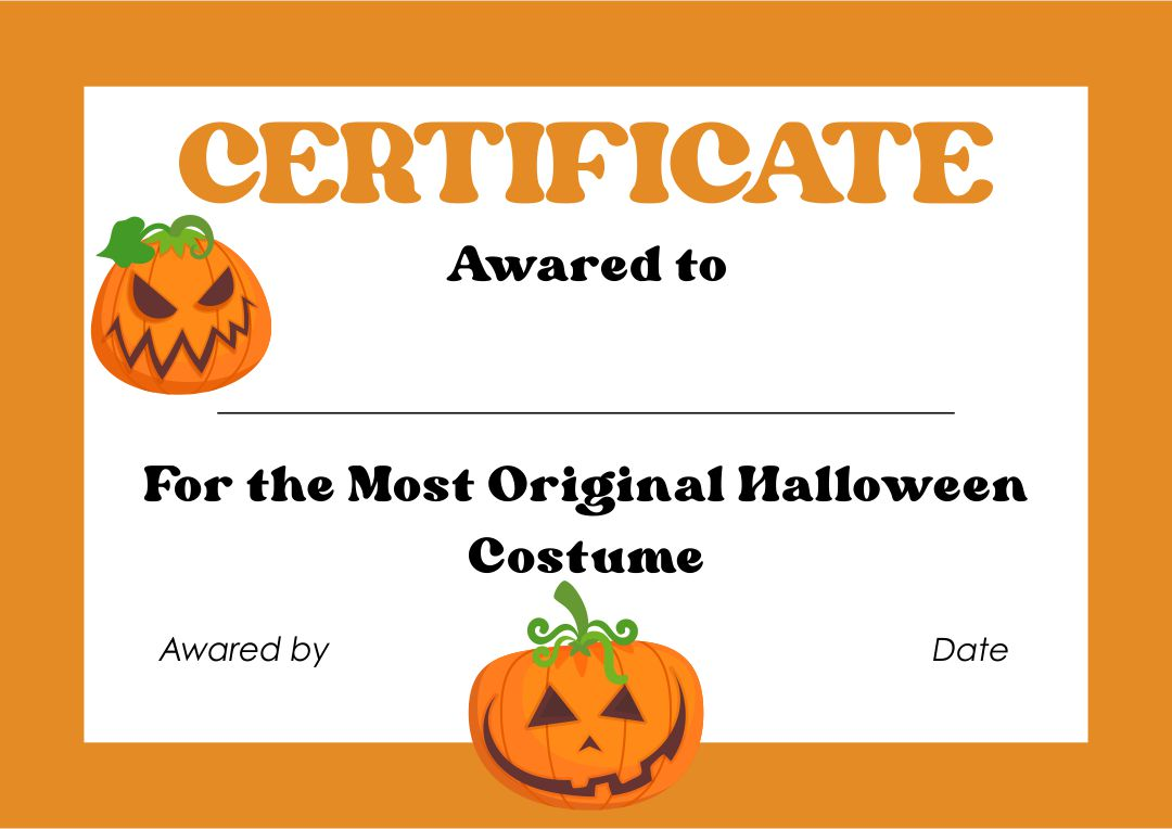 Halloween Costume Award Certificate Template