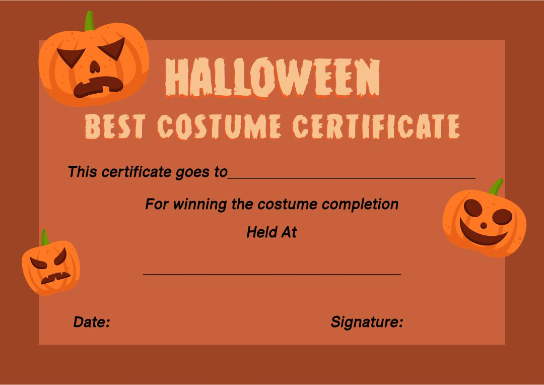 Halloween Costume Certificate Template