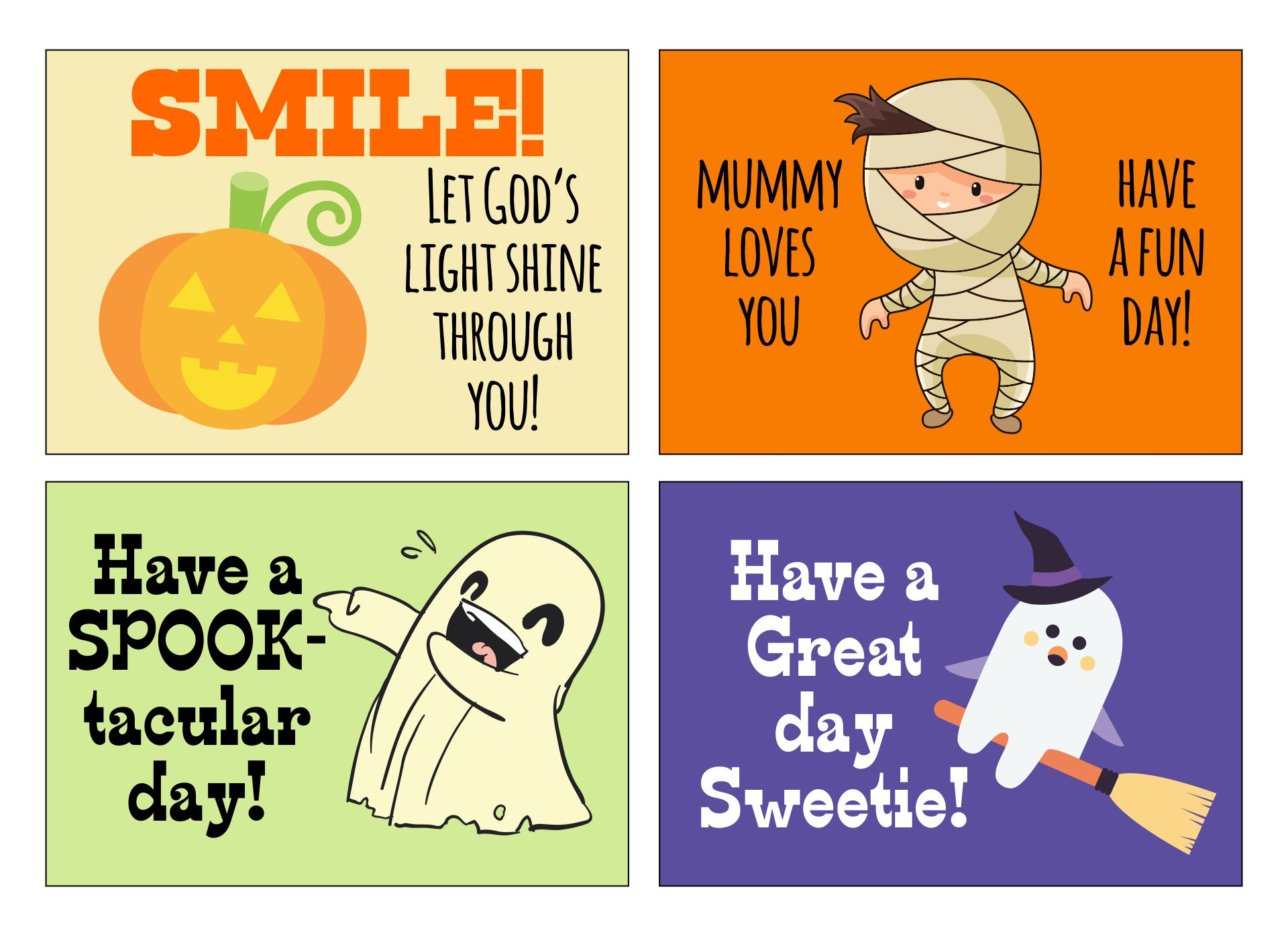 6 Images of Free Printable Halloween Lunch Notes