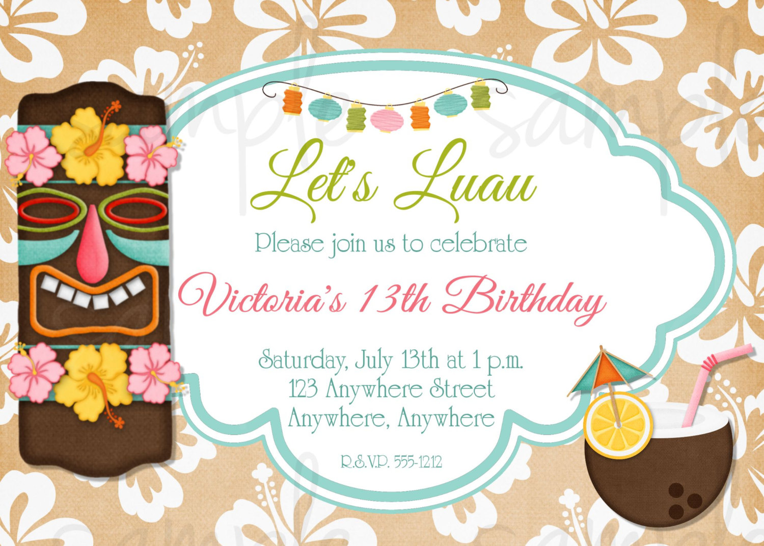 8 best images of tiki party invitation free printable for Luau invitations templates free
