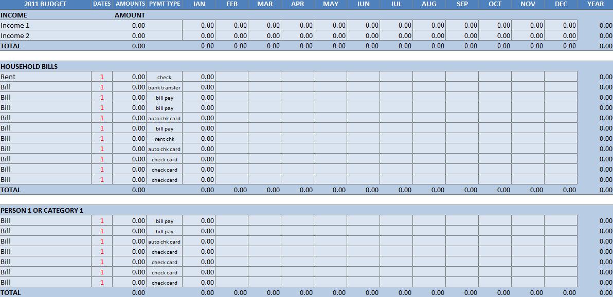 8 Images of Excel Blank Budget Worksheet Printable