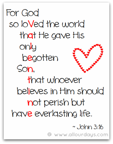 6 Images of Free Printable John 3 16 Valentine