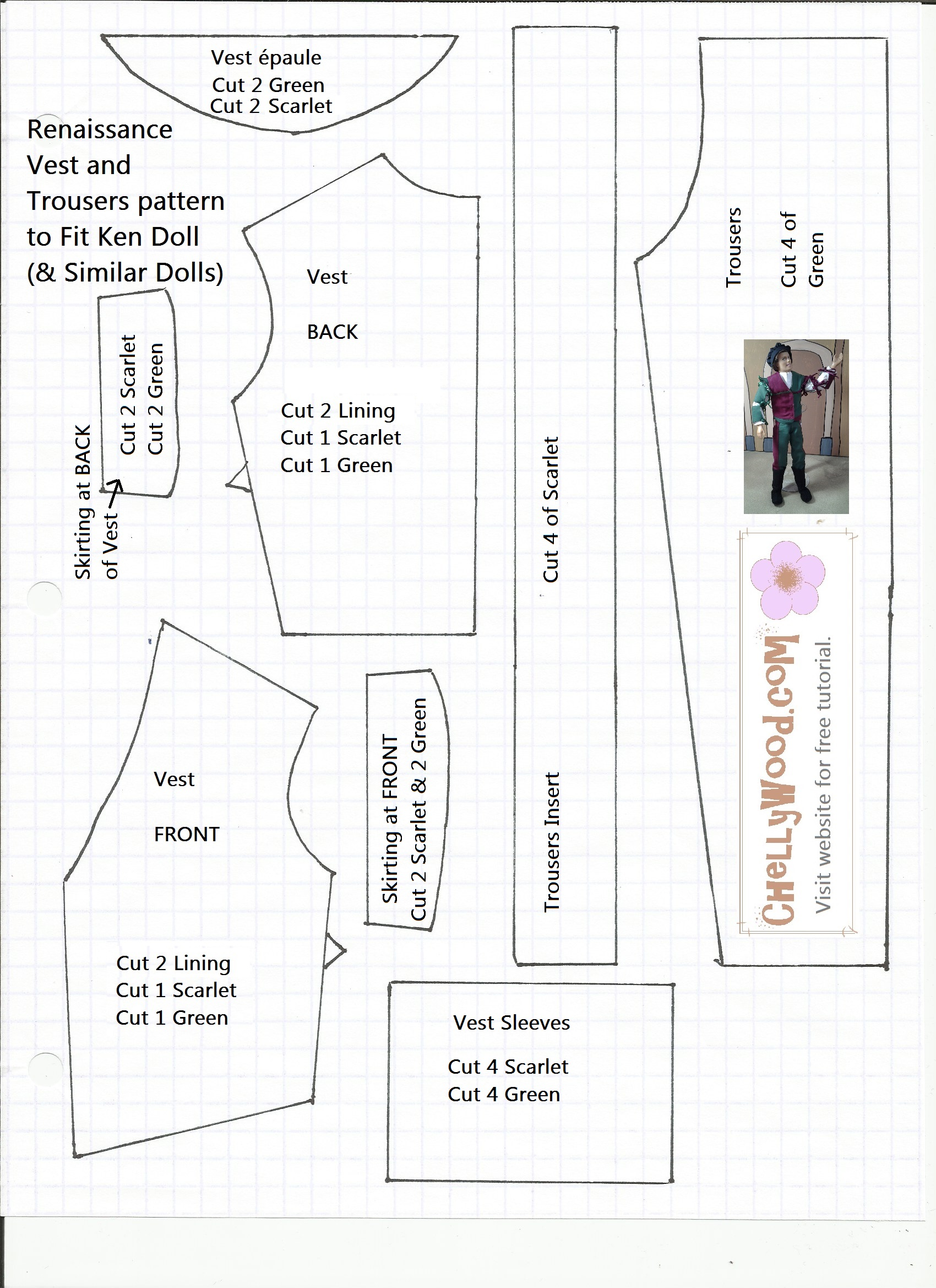 6 Images of Free Printable Ken Doll Clothes Sewing Patterns