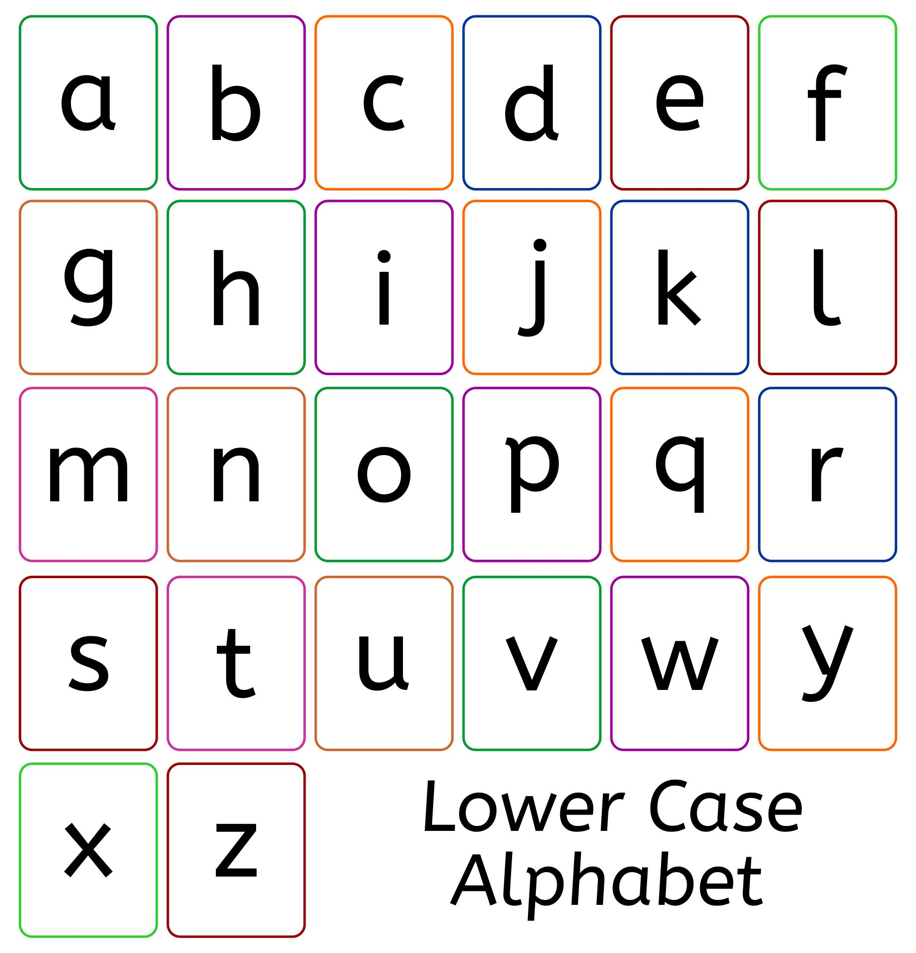 Letter Lower Case Alphabet Flash Cards Printable