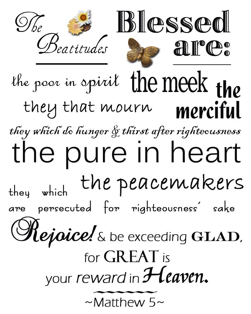 6 Images of Beatitudes Printable PDF