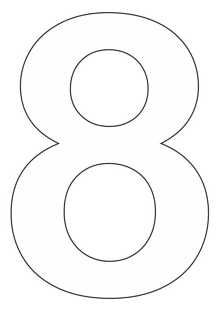 7 best images of printable number 8 outline large for Printable number coloring pages