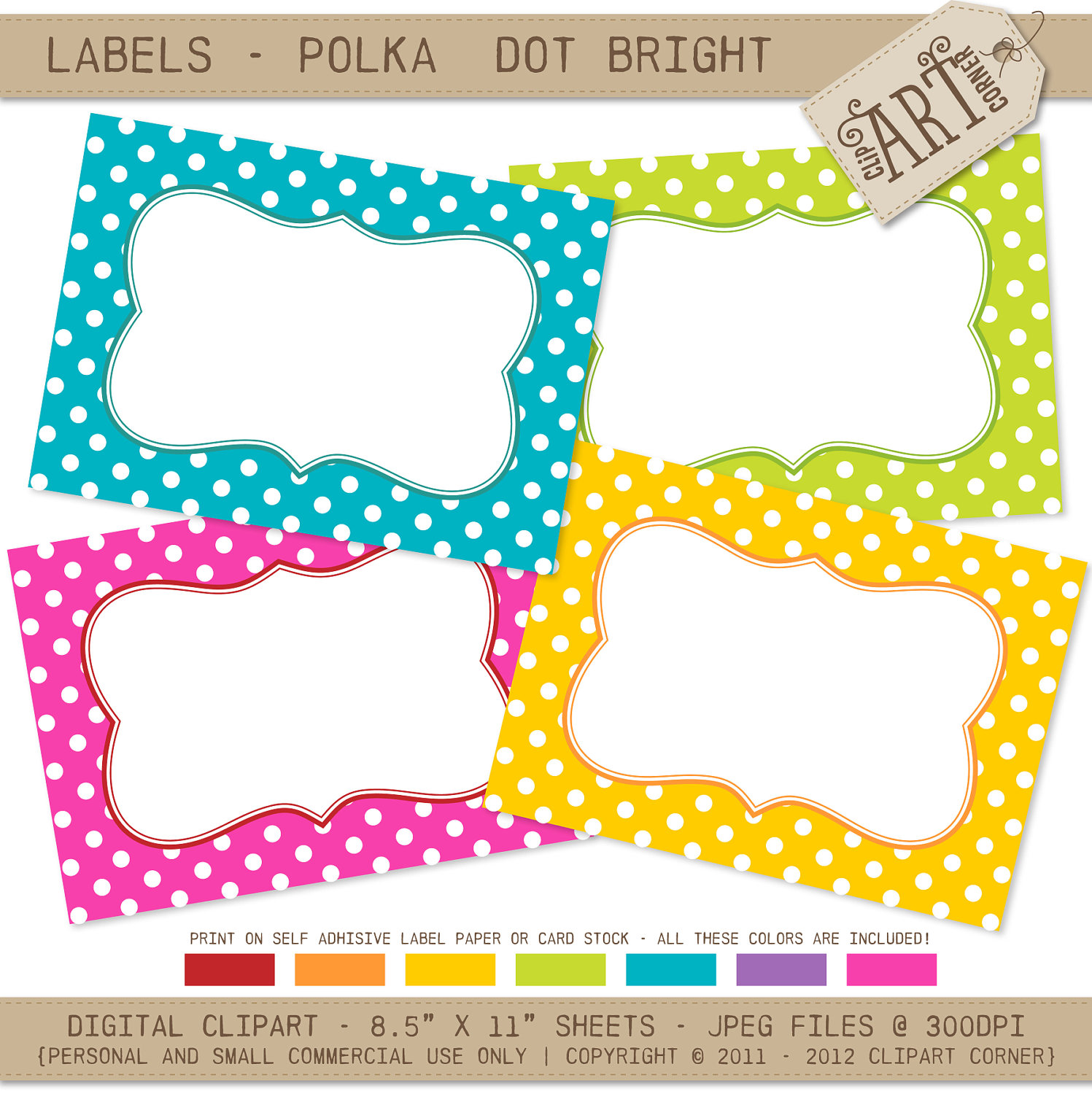 5 Images of Free Printable Polka Dot Editable Labels