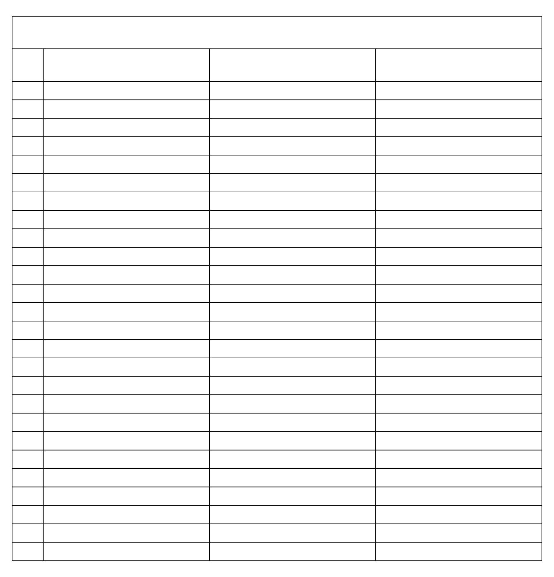 Printable 3 Column Spreadsheet Template