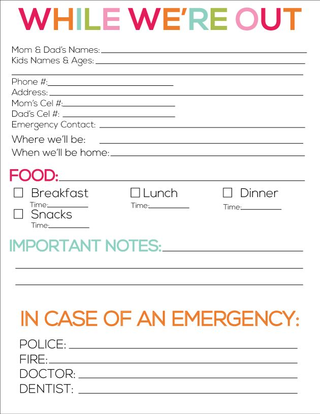 5 Images of Babysitter Contact Information Sheet Printable