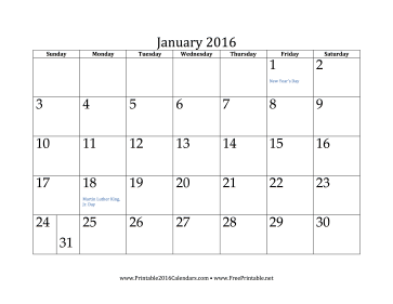 7 Images of January 2016 Printable Calendar Planner
