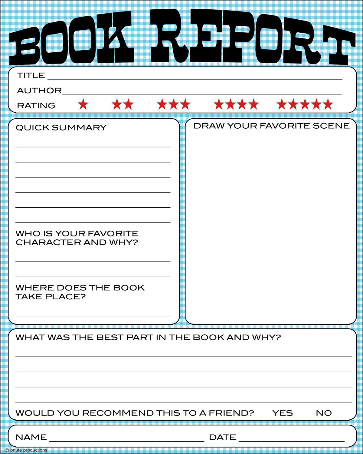 5 Images of Printable Book Report Worksheet