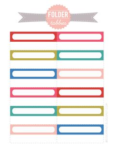 Printable File Folder Labels