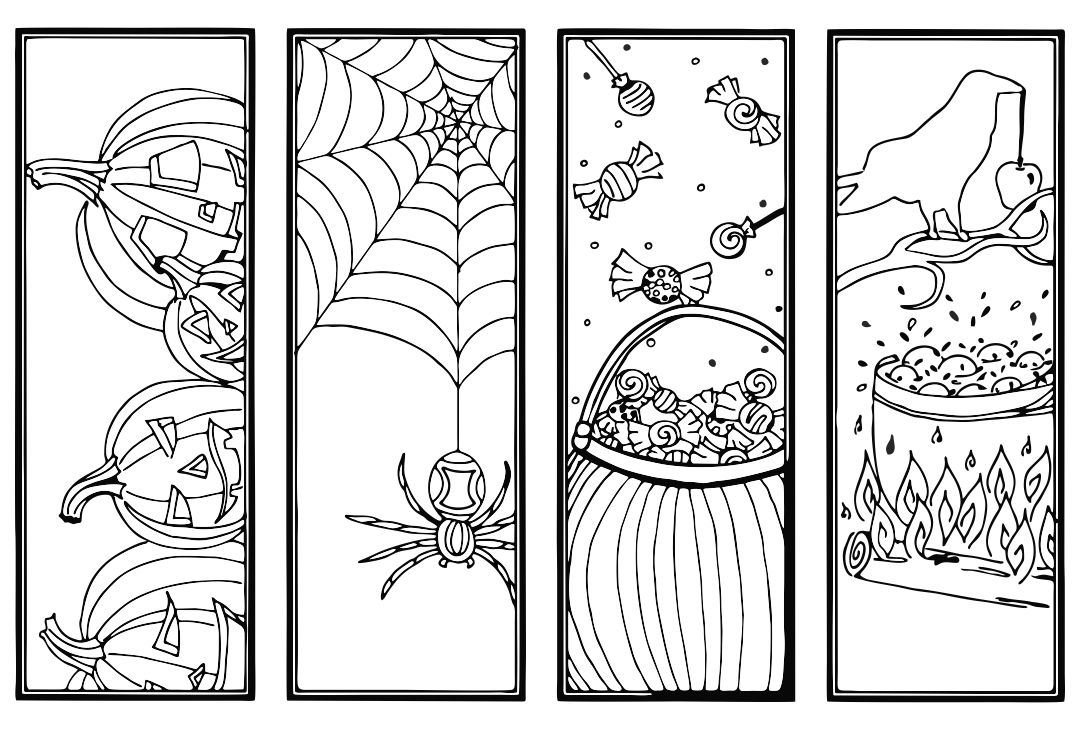 5 Images of Printable Halloween Bookmark Coloring Pages