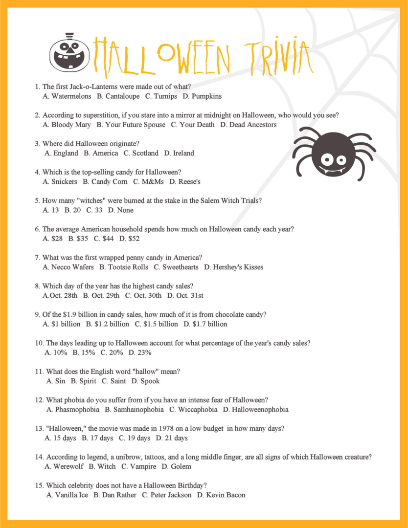 6 Images of Halloween Movie Trivia Printable
