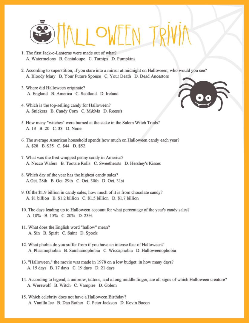 6 Images of Halloween Movie Trivia Printable