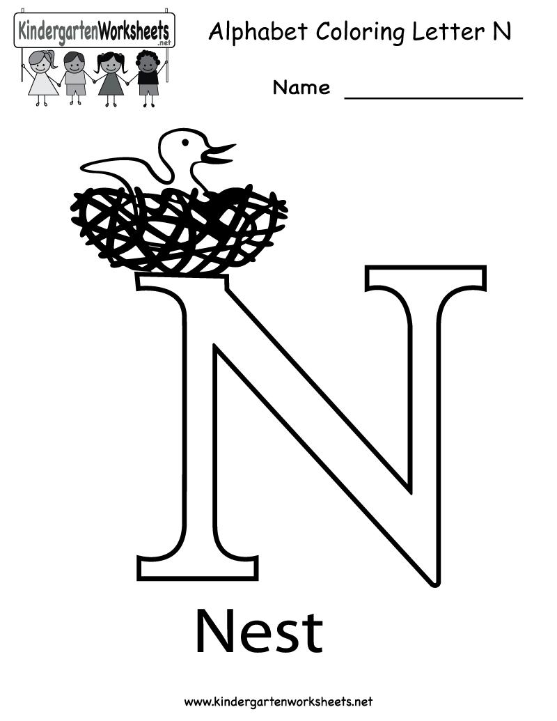 Free printable letter n worksheets for kindergarten